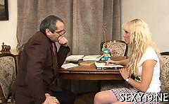 Oral job for a horny teacher