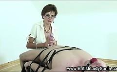 Lady Sonia femdom handjob cumshot