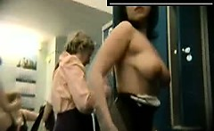 Many amateurs together naked in dressing room