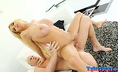 Huge tits blonde Tgirl Kimber James anal