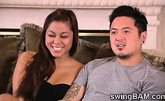 Horny oriental couple joins a XXX reality of swingers