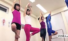 Subtitled Japanese yoga stretching class crazy erection