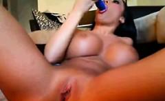 Stripper With Big Fake Tits Masturbates