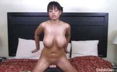 Busty Brunette Yurizan Beltran Oiled Up And Riding A Sybian