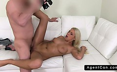 Blonde amateur posing in lingerie on casting