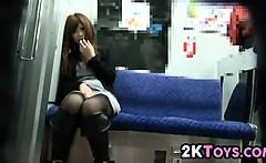 Asian Girl Orgasming On The Subway