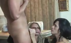 Hot blonde and brunette cougars share the cock sucking and both get nailed 