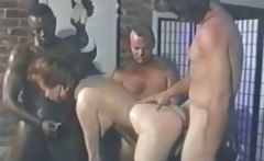 Sarah Jane Hamilton in uniform gets a bunch of cocks to eat and bang