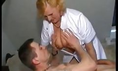 Chubby blonde granny nurse gives her patient head and fucks him