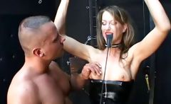 Bound in her latex and nylons, Lejla, gets some pleasure and pain