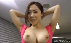 Asian sweety washes a car with her tits