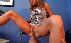 Sexy blonde MILF spreads her legs