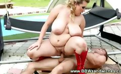 BBW threesome by the poolside for these horny people