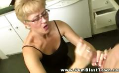 Mature slut loves young cock in her sexy mouth in the