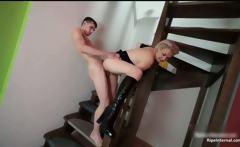 Hot busty blonde MILF blowing tube