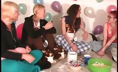 Pijama sex party with teens playing truth or dare