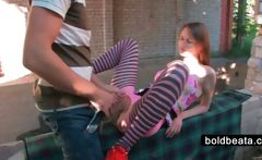 Lusty Beata in pantyhose gets fucked in public