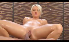 Slippery nuru massage blonde takes cum on the table