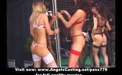 Stunning lovely redhead girl dancing and streaptease on a