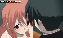 Innocent little anime brunette babe