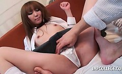 Asian hot schoolgirl cunt rubbed with her girlish panties