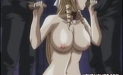 Chained hentai bigtits with muzzle brutally gangbanged and