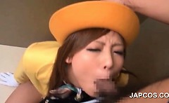 Splendid asian hostess mouth fucked hard in the elevator