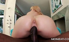Stunning blonde sex queen jumping black loaded shaft