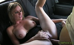 Blonde married amateur fucked in taxi